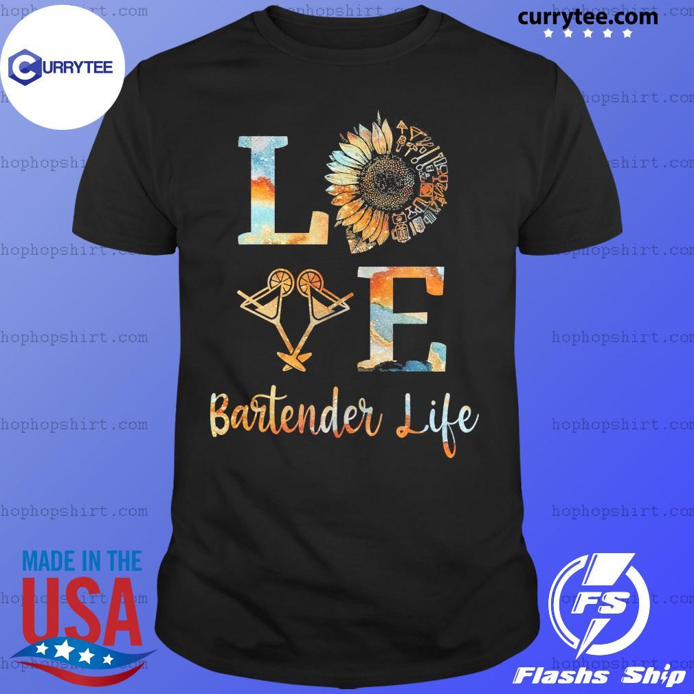 Love Bartender Life Sunflower Wine Shirt
