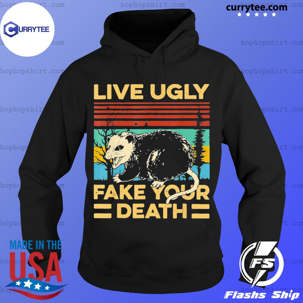 Live Ugly Fake Your Death Funny Vintage Opossum Outfit s Hoodie