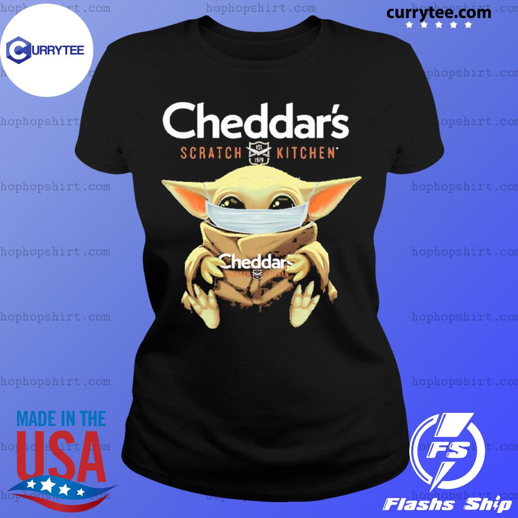 Baby Yoda Face Mask Cheddar's Scratch Kitchen Shirt Ladies Tee