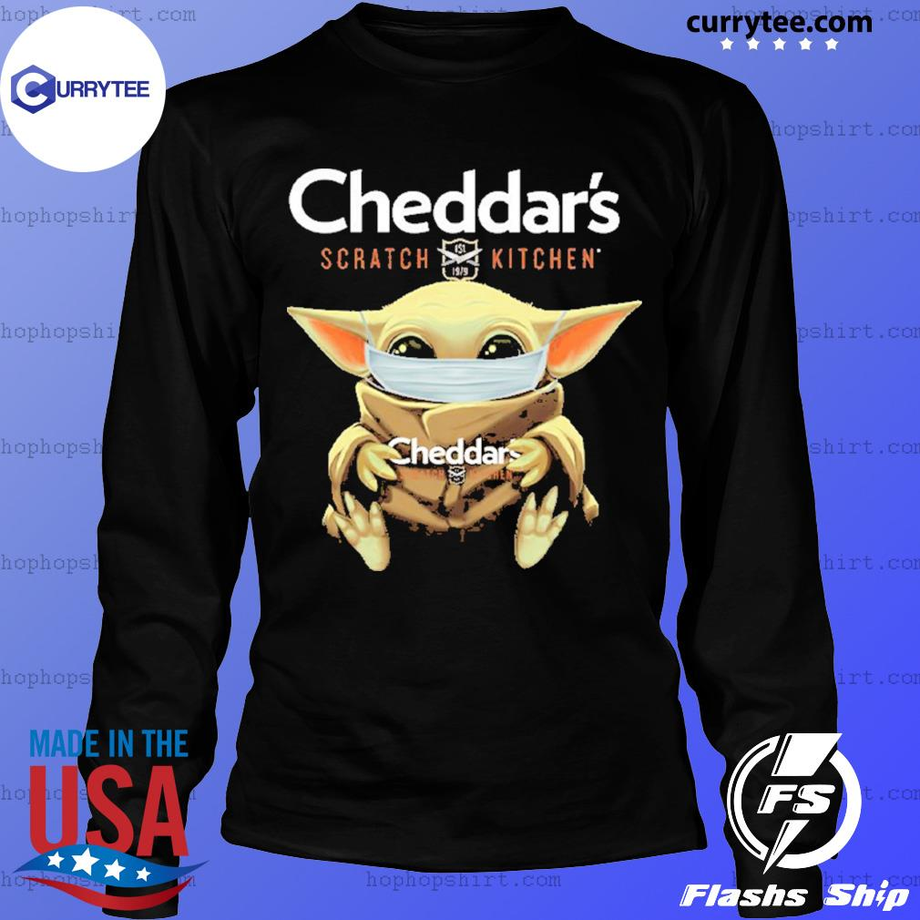 Baby Yoda Face Mask Cheddar's Scratch Kitchen Shirt LongSleeve