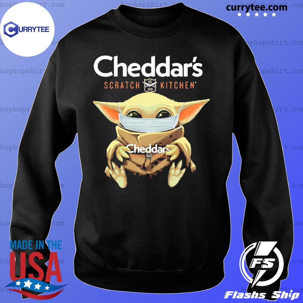 Baby Yoda Face Mask Cheddar's Scratch Kitchen Shirt Sweater