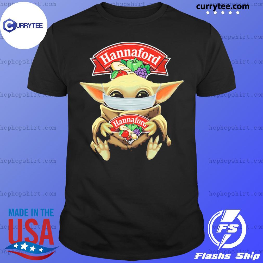 Baby Yoda face mask hug Hannaford shirt