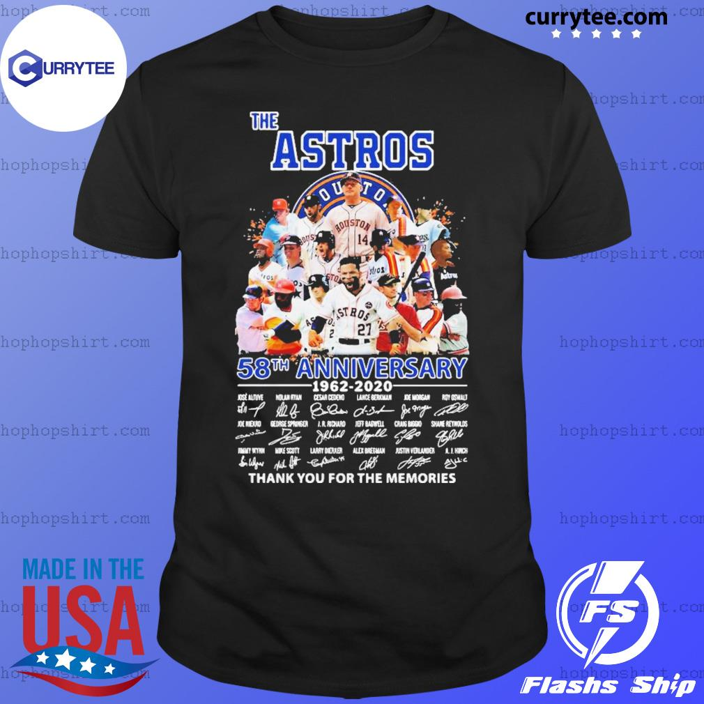 Good The Houston Astros 58th Anniversary 1962-2020 Signatures Thank You For The Memories Shirt
