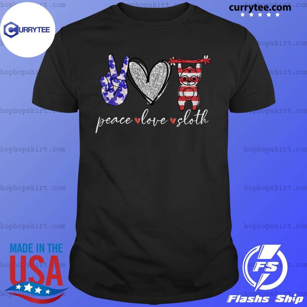 Peace Love Sloth American Flag Shirt