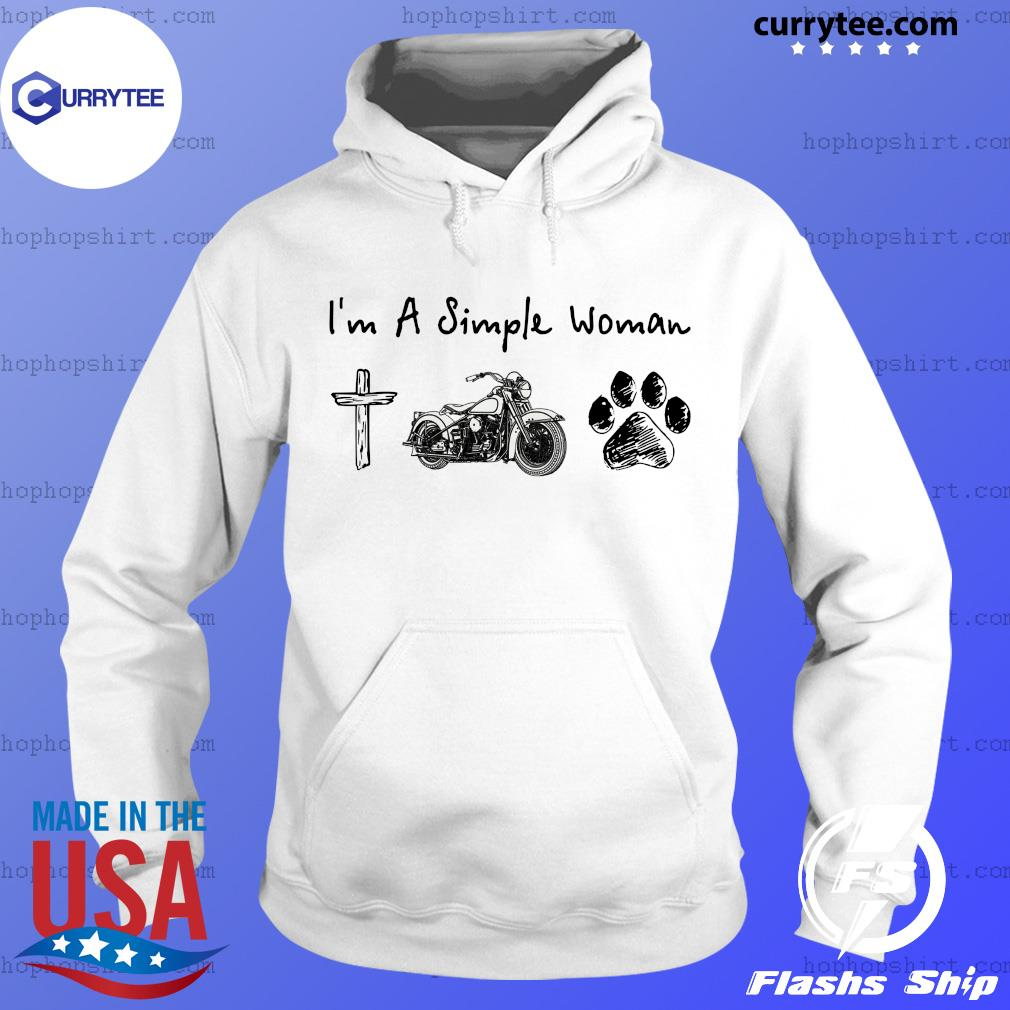 I'm A Simple Woman Jesus Motorcycle Dog Paw Shirt Hoodie