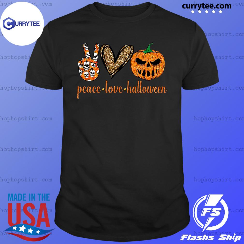Skull Peace Love Halloween Shirt