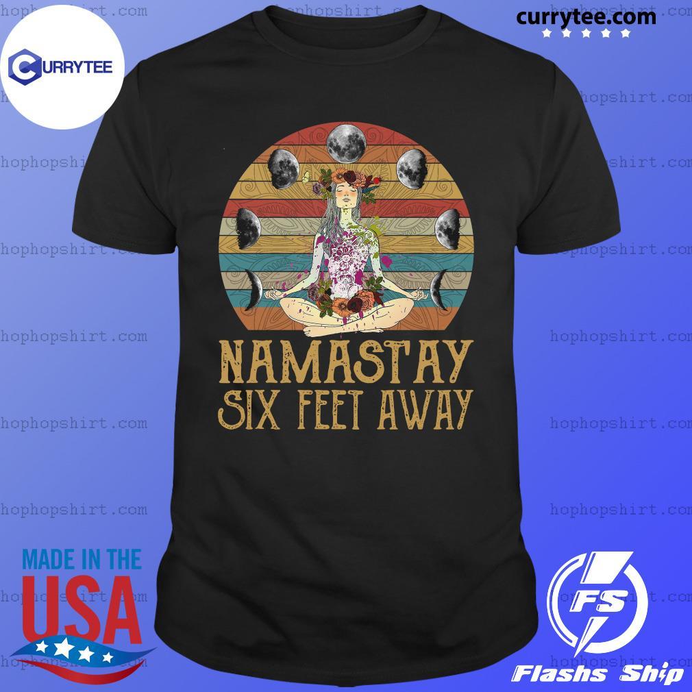 Yoga Girl Namastay Six Feet Away Vintage Retro Shirt