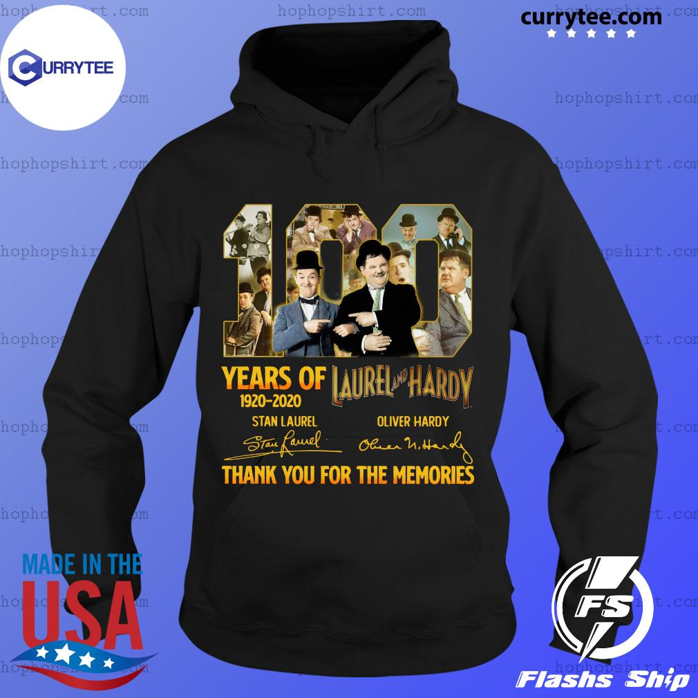 100 Years Of Laurel And Hardy 1920 2020 Thank You For The Memories Signatures Shirt Hoodie