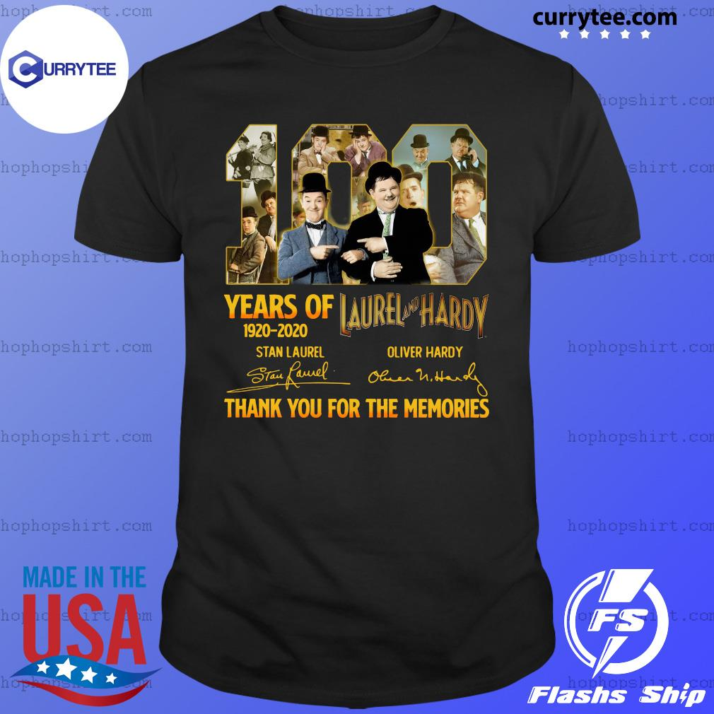 100 Years Of Laurel And Hardy 1920 2020 Thank You For The Memories Signatures Shirt