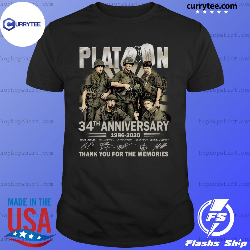 Platoon 34th Anniversary Thank You For The Memories Signatures Shirt