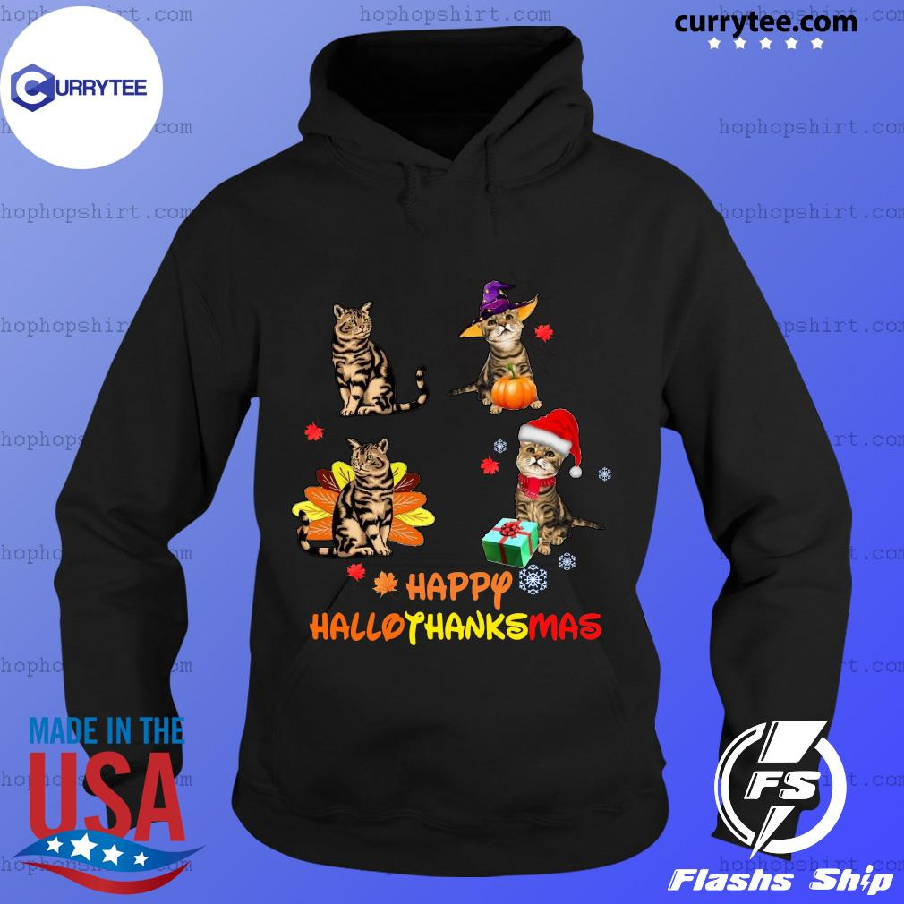 Baby Cat Happy Hallothanksmas Shirt Hoodie