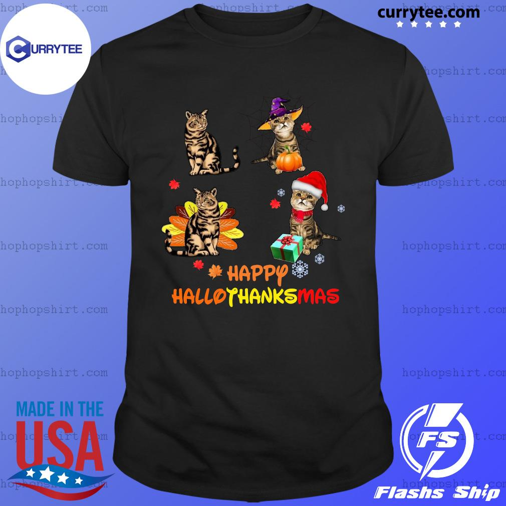 Baby Cat Happy Hallothanksmas Shirt