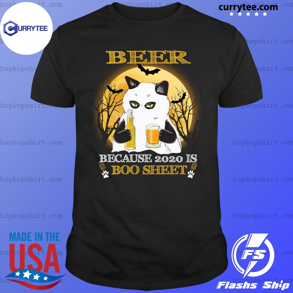Cat Ghost Beer Because 2020 Is Boo Sheet SHirt