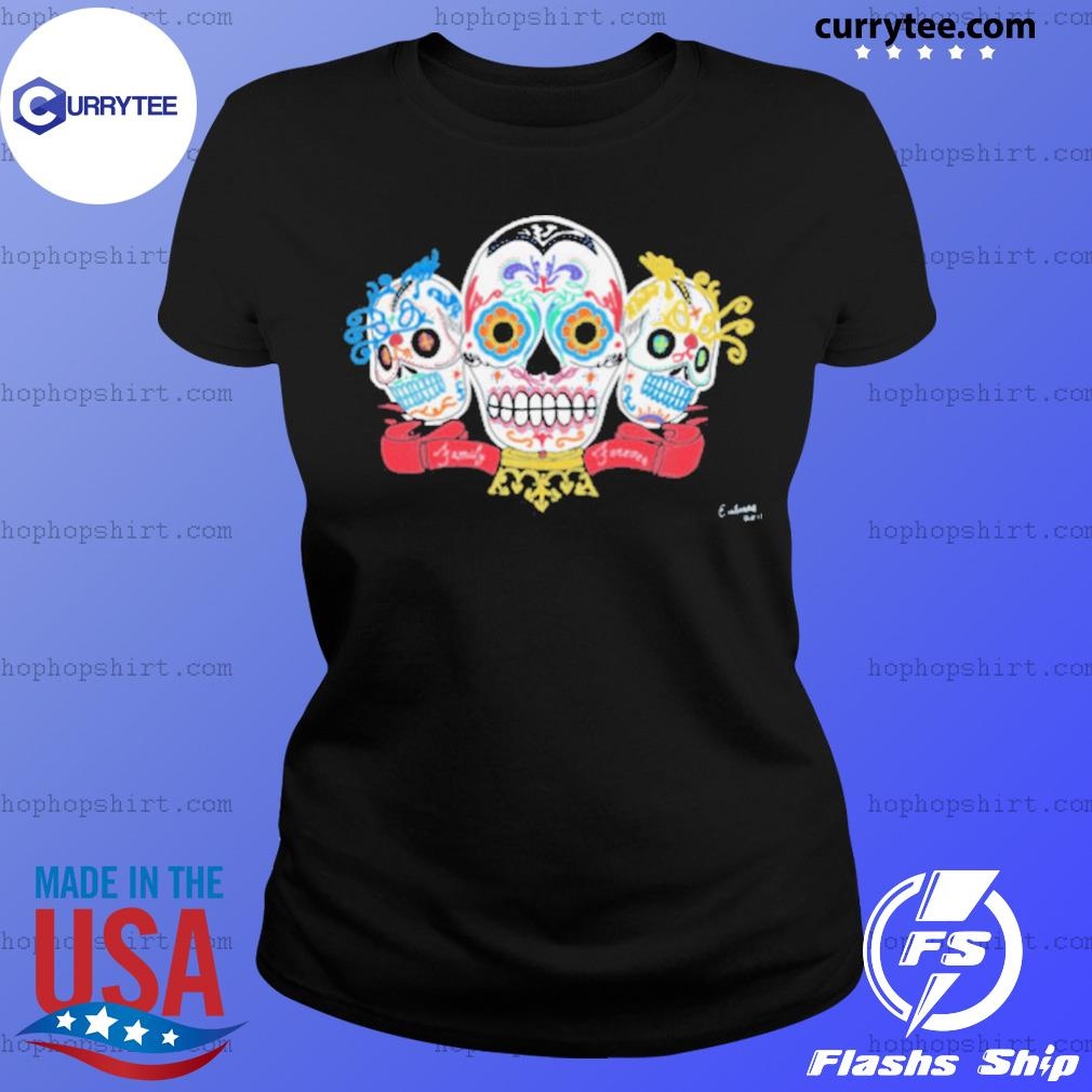 Sugar Skulls 3 Brothers Family Forever Day Of The Dead s Ladies Tee