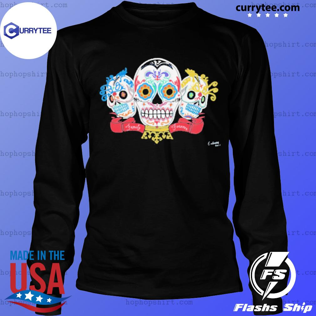 Sugar Skulls 3 Brothers Family Forever Day Of The Dead s LongSleeve