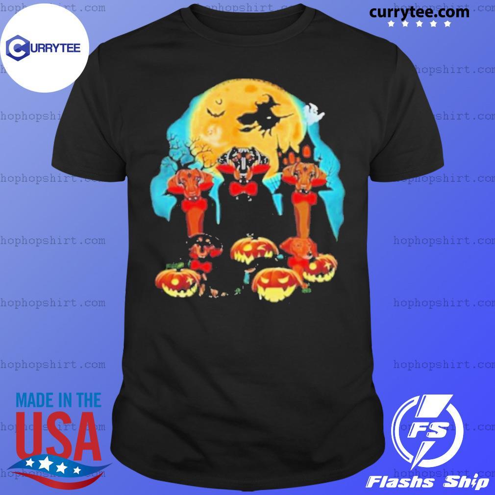 Dachshund Dracula Pumpkin Moonlight Happy Halloween shirt