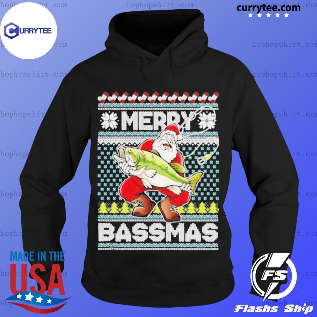 Merry Bassmas Fish Santa Ugly Christmas s Hoodie