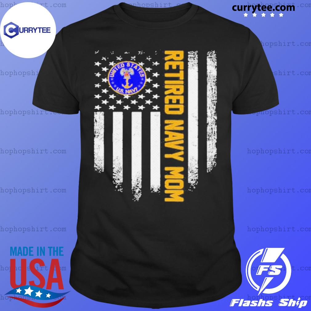 Vintage USA American Flag Retired US Navy Veteran Mom shirt