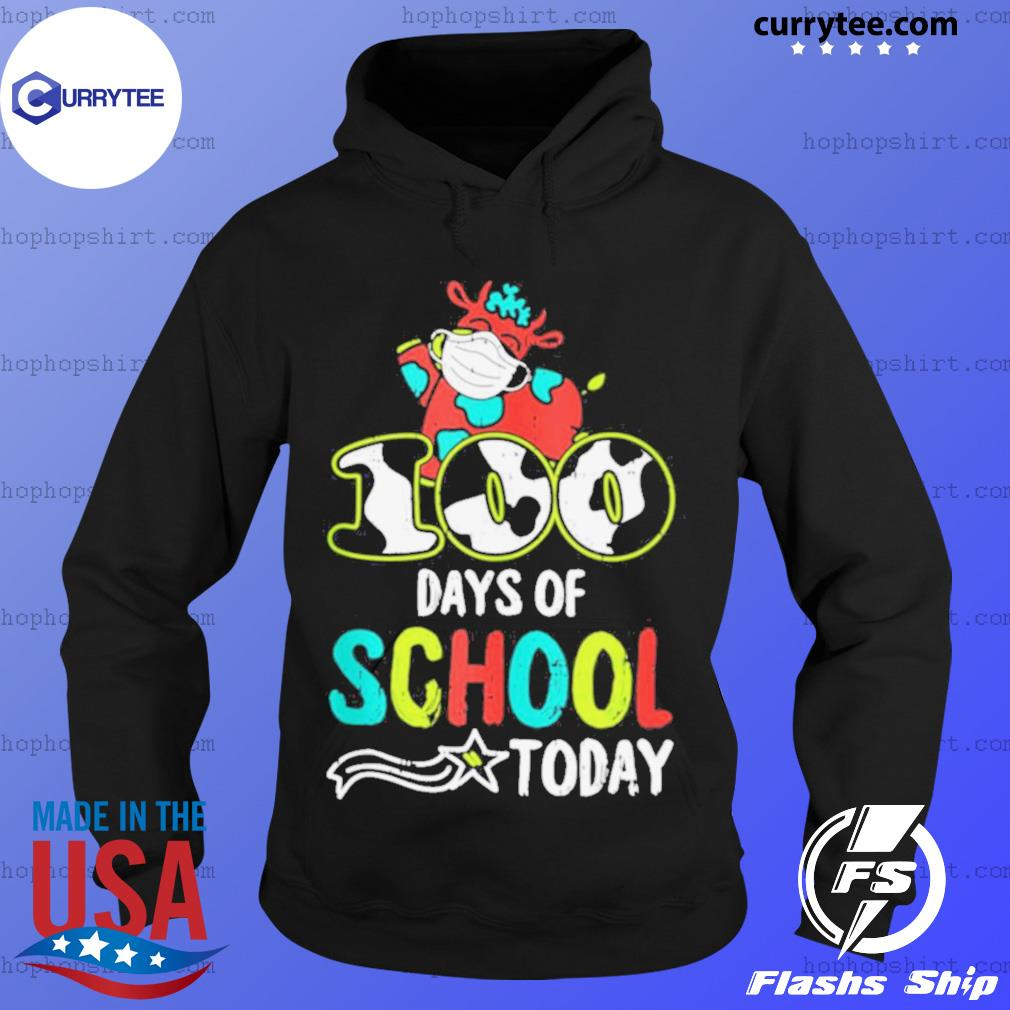 100 Days Of School Today Cow Print Face Mask Quarantine s Hoodie