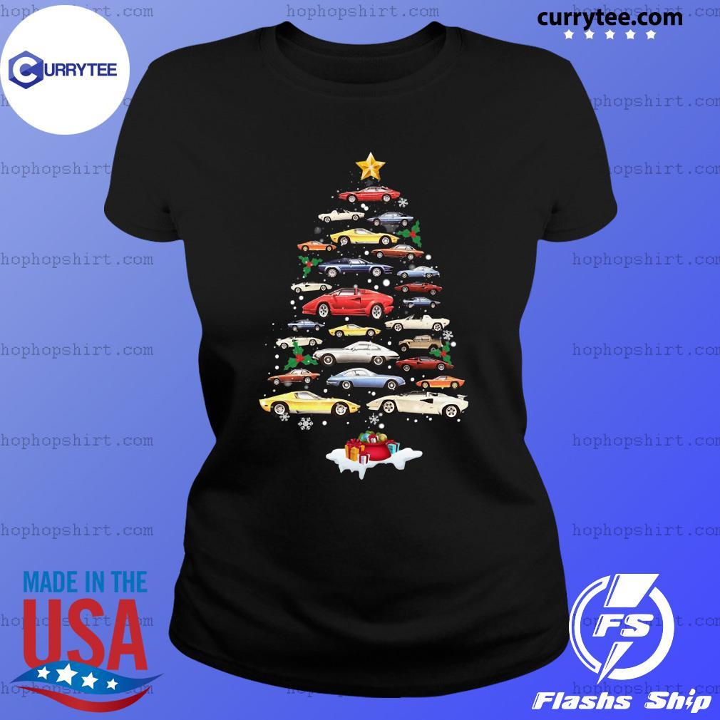 Cars Merry Christmas Tree Sweats Ladies Tee