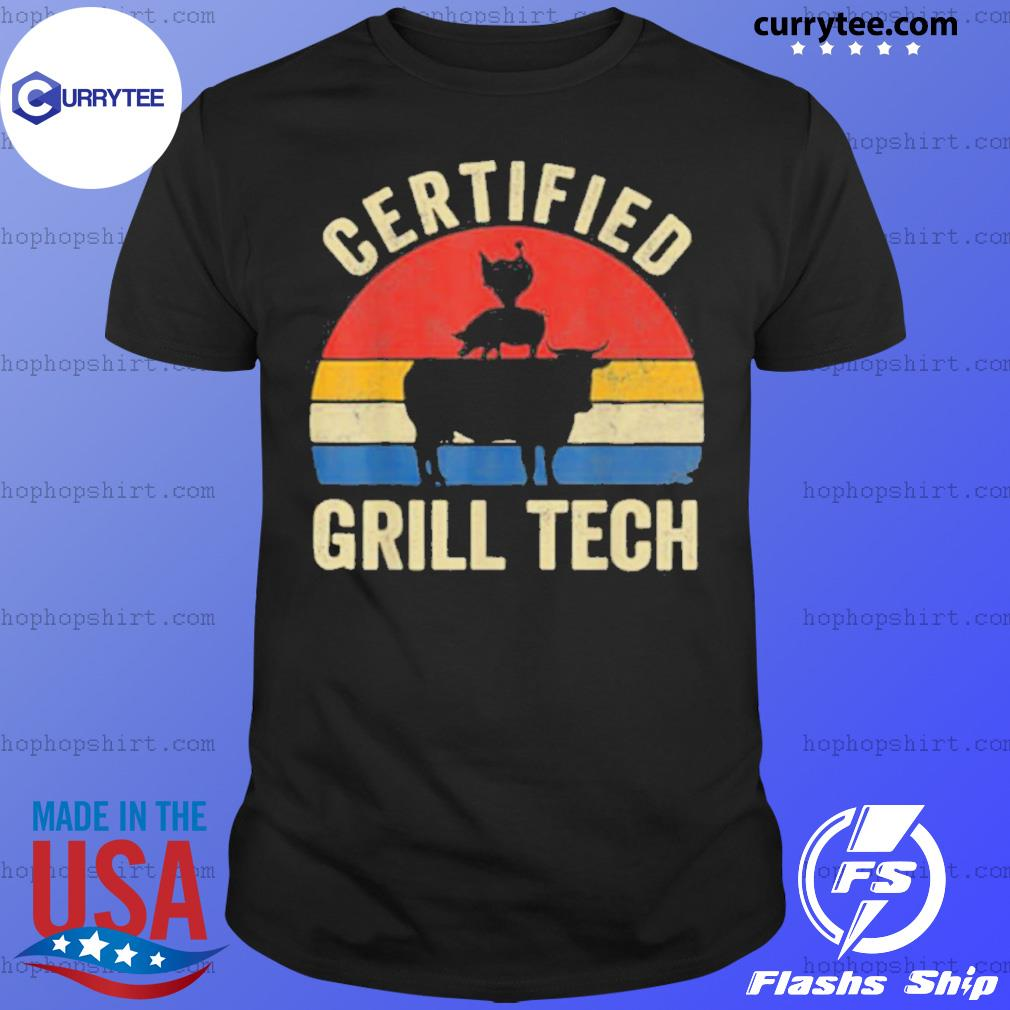 Chicken Pig Cow Certified Grill Teach Vintage Retro Shirt