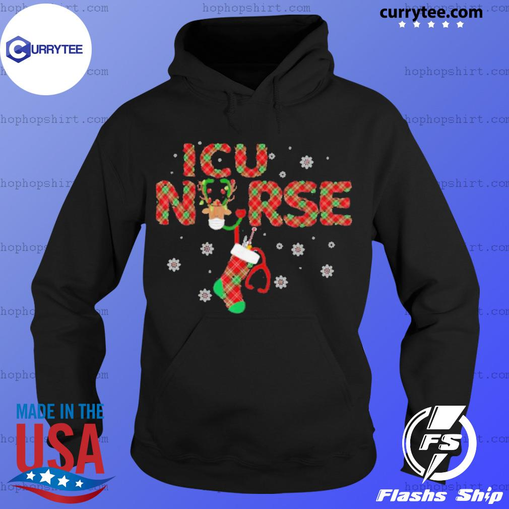 Intensive Care Unit ICU Nurse Christmas Plaid Pattern sweats Hoodie