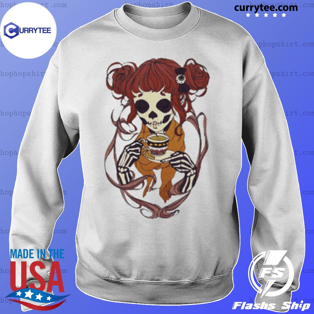 Skeleton Girl Drinking Tea s Sweater