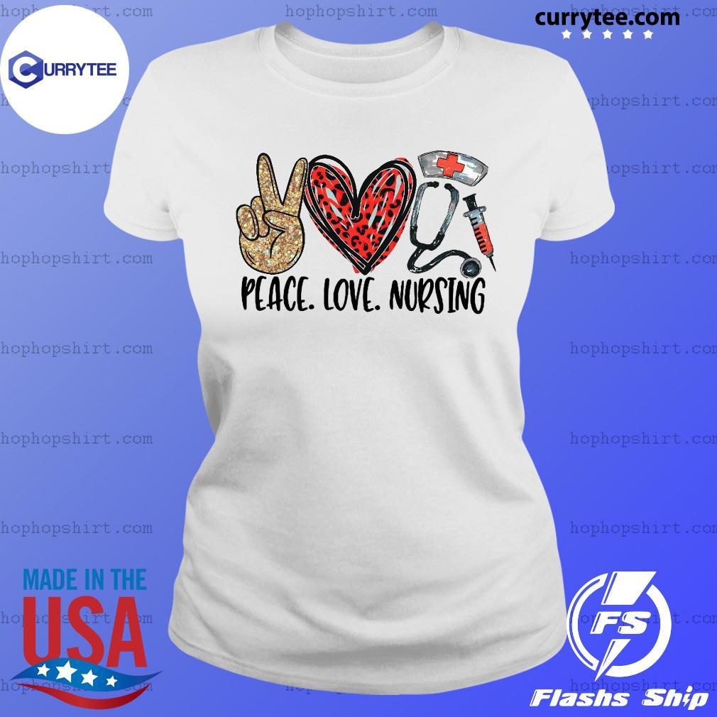 Official Diamond Peace Love And Nursing 2021 Shirt Ladies Tee