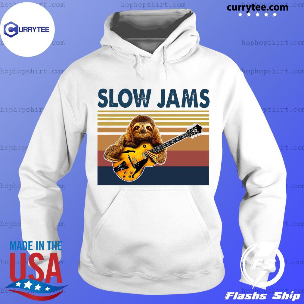 Vintage Slow Jams With Sloth Play Guitar 2021 Shirt Hoodie