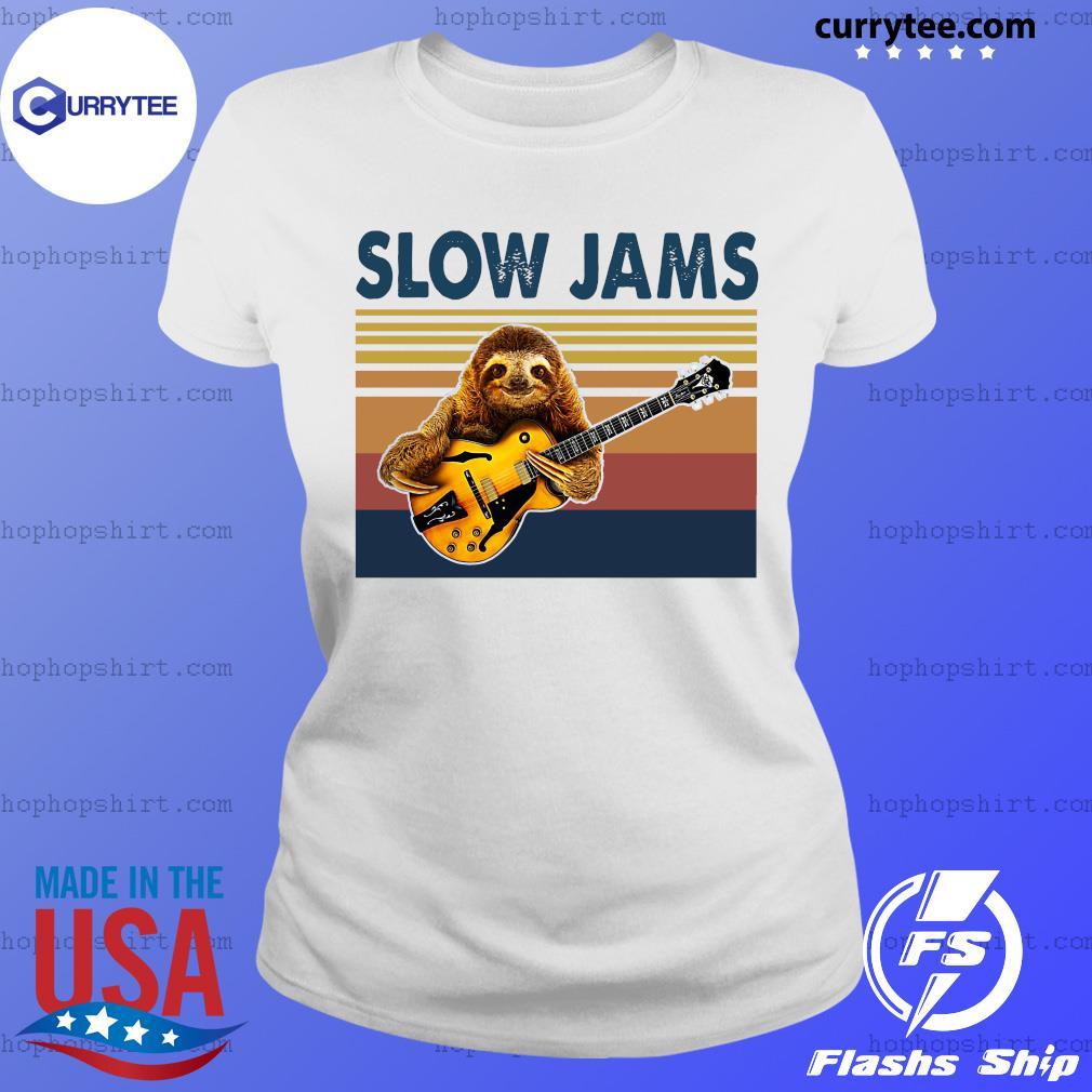 Vintage Slow Jams With Sloth Play Guitar 2021 Shirt Ladies Tee