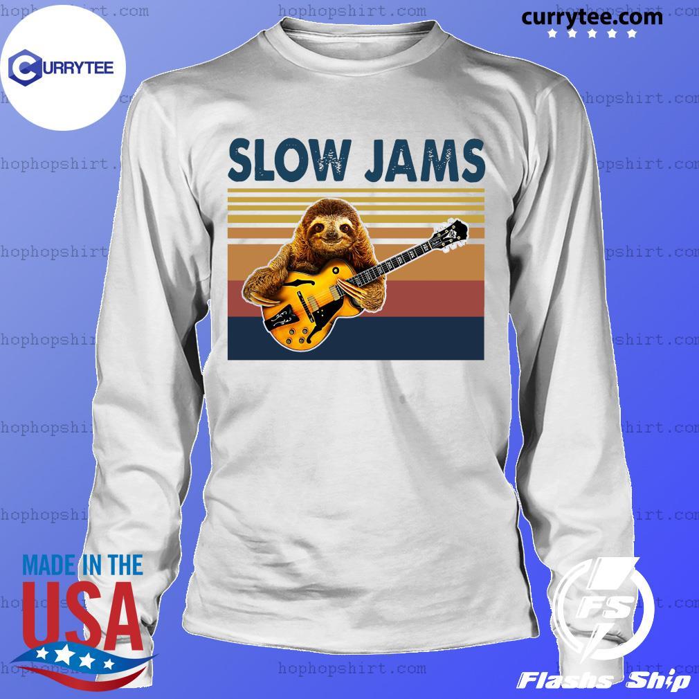 Vintage Slow Jams With Sloth Play Guitar 2021 Shirt LongSleeve