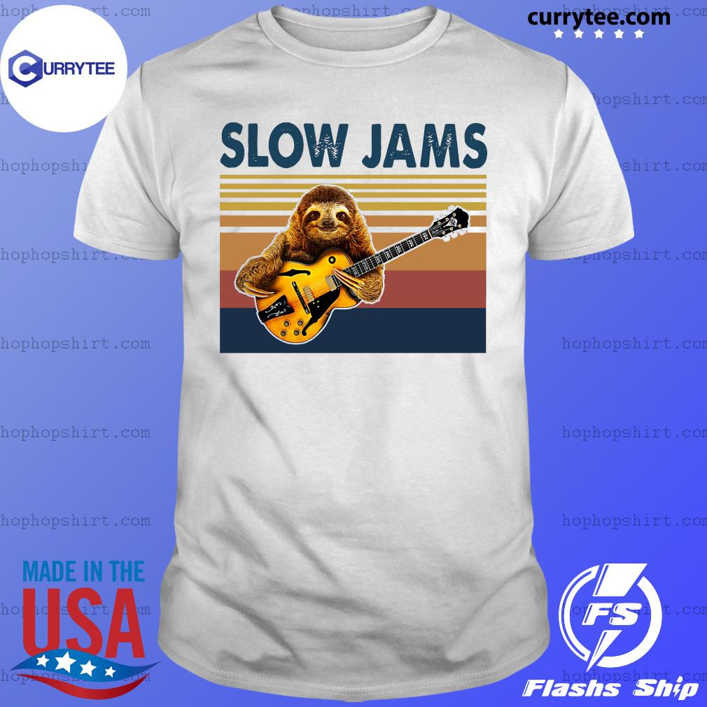 Vintage Slow Jams With Sloth Play Guitar 2021 Shirt