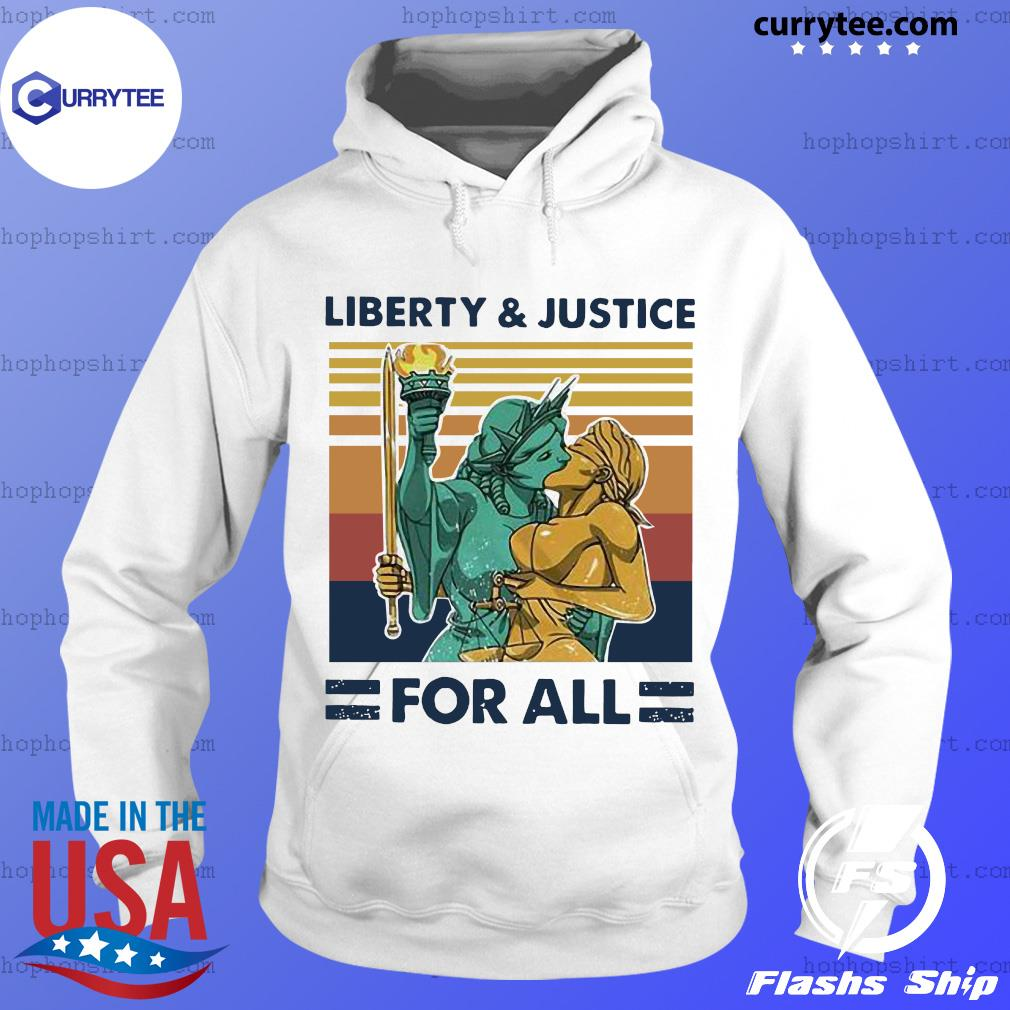 Vintage Liberty And Justice For All LGBT Pride Retro Shirt Hoodie